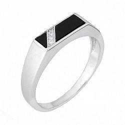 Серебряное кольцо с ониксом и фианитами 000028147