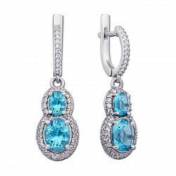 Серебряные серьги с голубым кварцем и фианитами 000136418