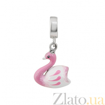 Серебряный шарм Лебедушка с розовой и белой эмалью 000081707