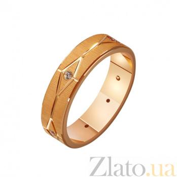 Золотое обручальное кольцо Лабиринт любви с фианитами TRF--412204