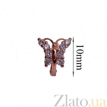 Детские золотые серьги с фианитами Бабочки ONX--c01457