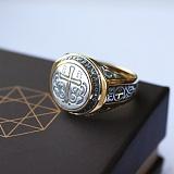 Мужской серебряный перстень Истина в позолоте и с чернением