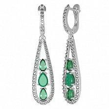Серебряные серьги Синтия с зеленым агатом, зеленым кварцем и фианитами