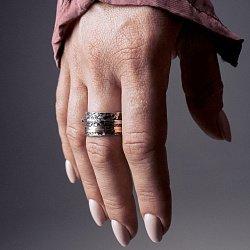 Кольцо из серебра Artefact с золотыми накладками, фианитами цвета шампань и чернением 000091292