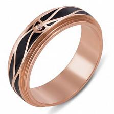 Обручальное кольцо из красного золота Вечность с чёрной эмалью