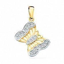 Подвеска из золота с фианитами Задорный мотылек