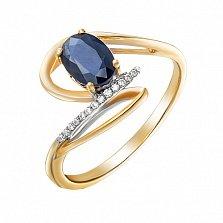 Золотое кольцо Тиатея с сапфиром и бриллиантами