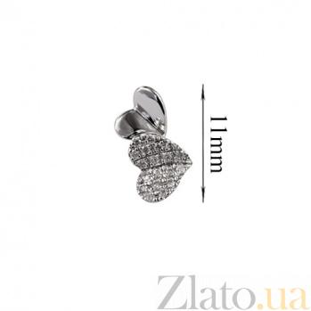 Золотые серьги с бриллиантами Биение сердец 000026712
