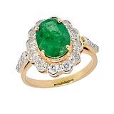 Золотое кольцо в красном цвете с изумрудом и бриллиантами Даниэла