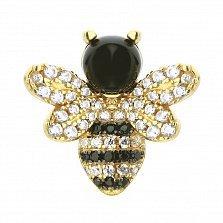 Серебряный кулон в позолоте Солнечная пчелка с черными и белыми фианитами