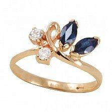 Золотое кольцо Флориана с синтезированными сапфирами и фианитами