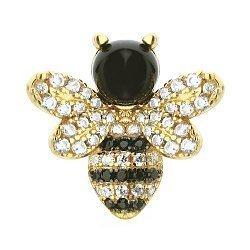 Серебряный кулон в позолоте Солнечная пчелка с черными и белыми фианитами 000095741