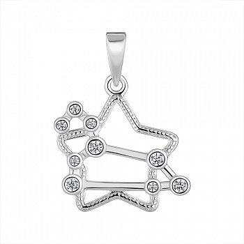 Срібна підвіска Знак Зодіаку Лев з фіанітами 000148203