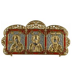 Серебряная икона-триптих Богородица, Иисус и Св. Николай с позолотой, фианитами и красной эмалью