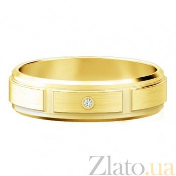 Мужское обручальное кольцо из желтого золота с бриллиантом Немыслимая страсть 474