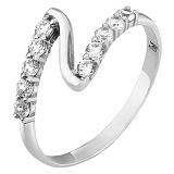 Серебряное кольцо Зиг-заг с фианитами