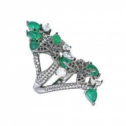 Серебряное кольцо Лесная сказка с зеленым халцедоном, черными и белыми фианитами