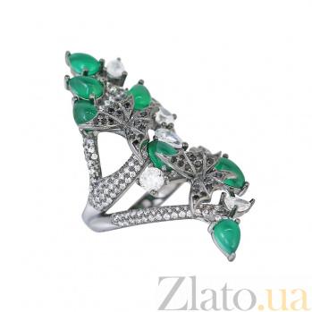 Серебряное кольцо Лесная сказка с зеленым халцедоном, черными и белыми фианитами 000081532