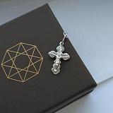 Серебряный родированый крестик Небесные силы