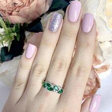 Серебряное кольцо Айсель с синтезированными изумрудами и фианитами