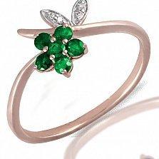 Золотое кольцо Флавин с бриллиантами и изумрудами