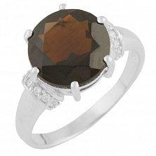 Серебряное кольцо Реджина с гранатом и фианитами
