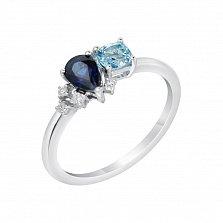 Кольцо в белом золоте Аврора с голубым топазом, сапфиром и бриллиантами