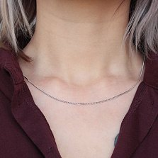 Серебряная родированная цепочка Елизавета с панцирным плетением, 1мм