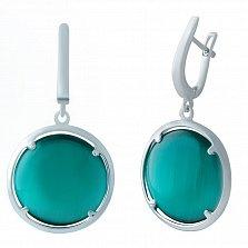 Серебряные серьги-подвески Морская ривьера с зеленым кошачьим глазом