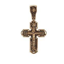 Двусторонний золотой крест с чернением 000068435