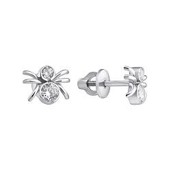 Серебряные сережки-пуссеты Паучки с фианитами