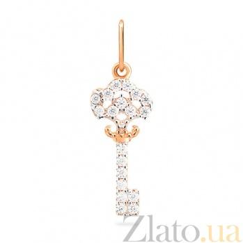 Золотая подвеска с цирконием Загадочный ключик SUF--422416