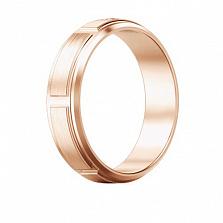 Мужское обручальное кольцо из розового золота с бриллиантом Немыслимая страсть