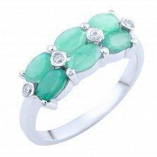 Серебряное кольцо Рафаэла с изумрудами и фианитами