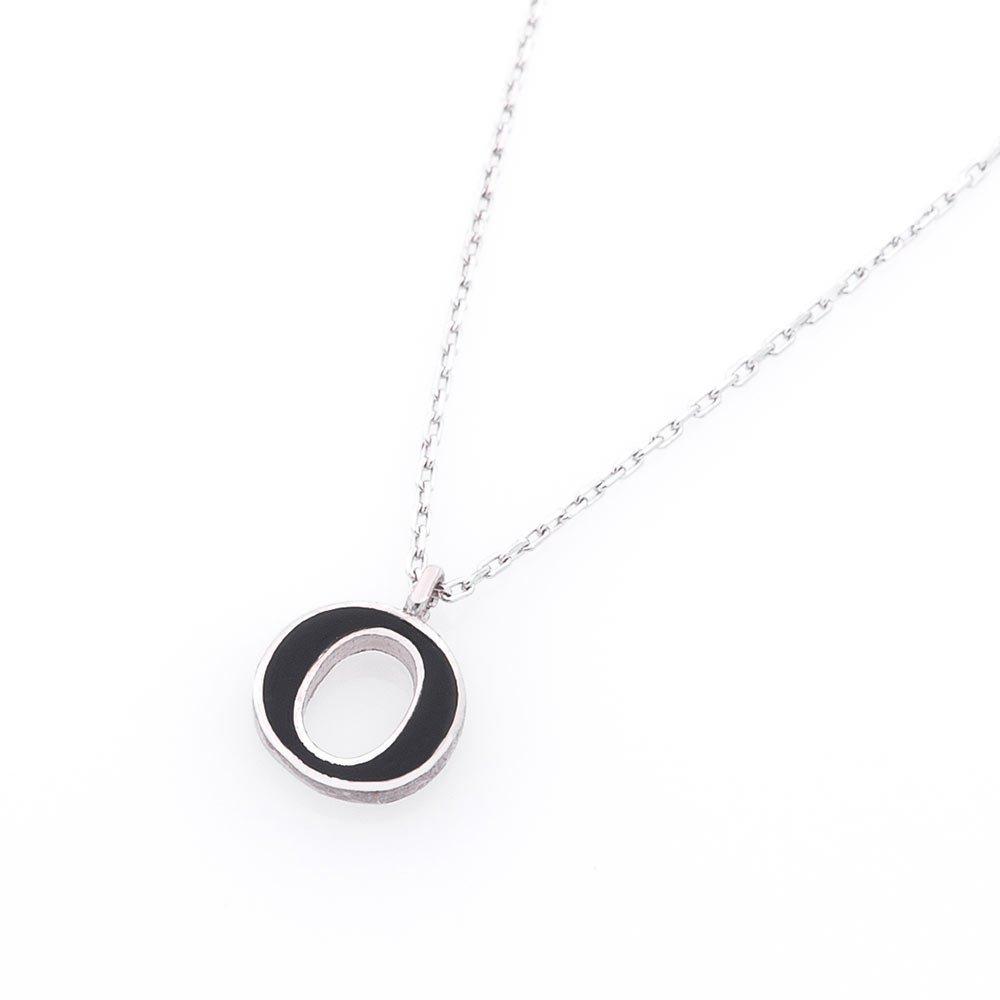 Серебряное колье Буква О с черной эмалью