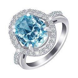 Серебряное кольцо с голубым и белыми фианитами 000028336