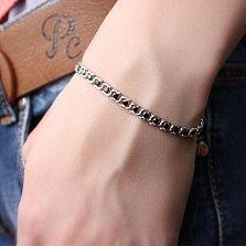 Серебряный браслет Мирена с чёрным цирконием