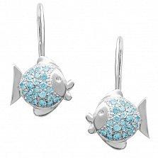 Детские серебряные серьги Целующие рыбки с голубыми фианитами