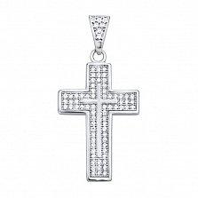 Серебряный декоративный крестик Корто с основой инкрустированной белыми фианитами