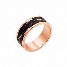 Обручальное кольцо из красного золота Счастливая пара с черной эмалью