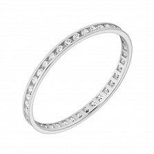 Обручальное кольцо из белого золота с фианитами Моя нежность