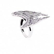 Массивное серебряное кольцо Крылья с чернением