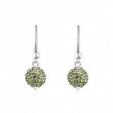 Серебряные серьги-подвески в форме шаров Блеск с нежно-салатовыми кристаллами Swarovski