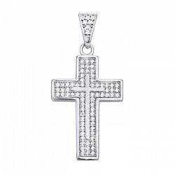Серебряный декоративный крестик с основой инкрустированной фианитами 000102972