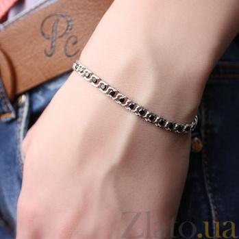 Серебряный браслет Мирена с чёрным цирконием 000044855