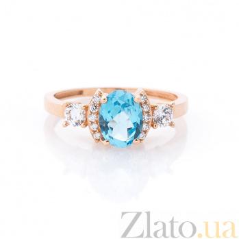 Золотое кольцо Августина в красном цвете с голубым топазом и белыми фианитами 000082317