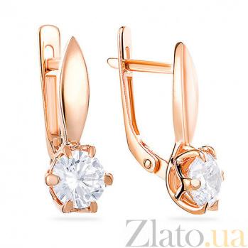 Золотые серьги с цирконием Жизель SUF--110218