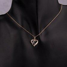 Золотой кулон-сердце Буква Е в комбинированном цвете с фианитами