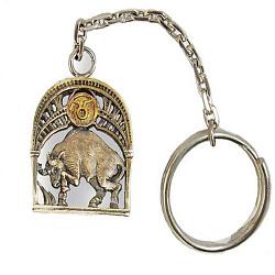 Серебряный брелок Знак зодиака Телец с позолотой 000004643