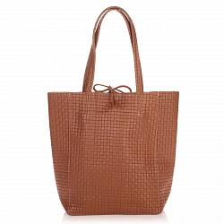 Кожаная сумка на каждый день Genuine Leather 8040 коричневого цвета на завязках